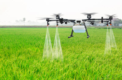 Agricultural Drone Spraying Over a Field