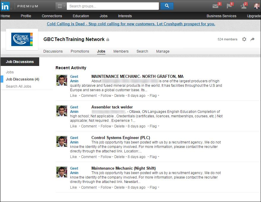 Example of GBC LinkedIn Group Job Postings