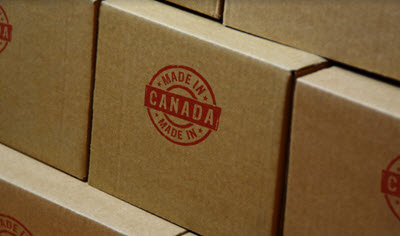 Made in Canada stamp printed on cardboard box