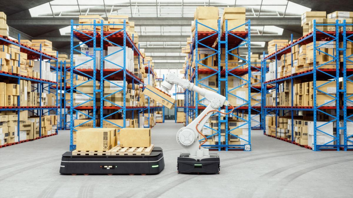 Robotic arm carrying a box in a warehouse