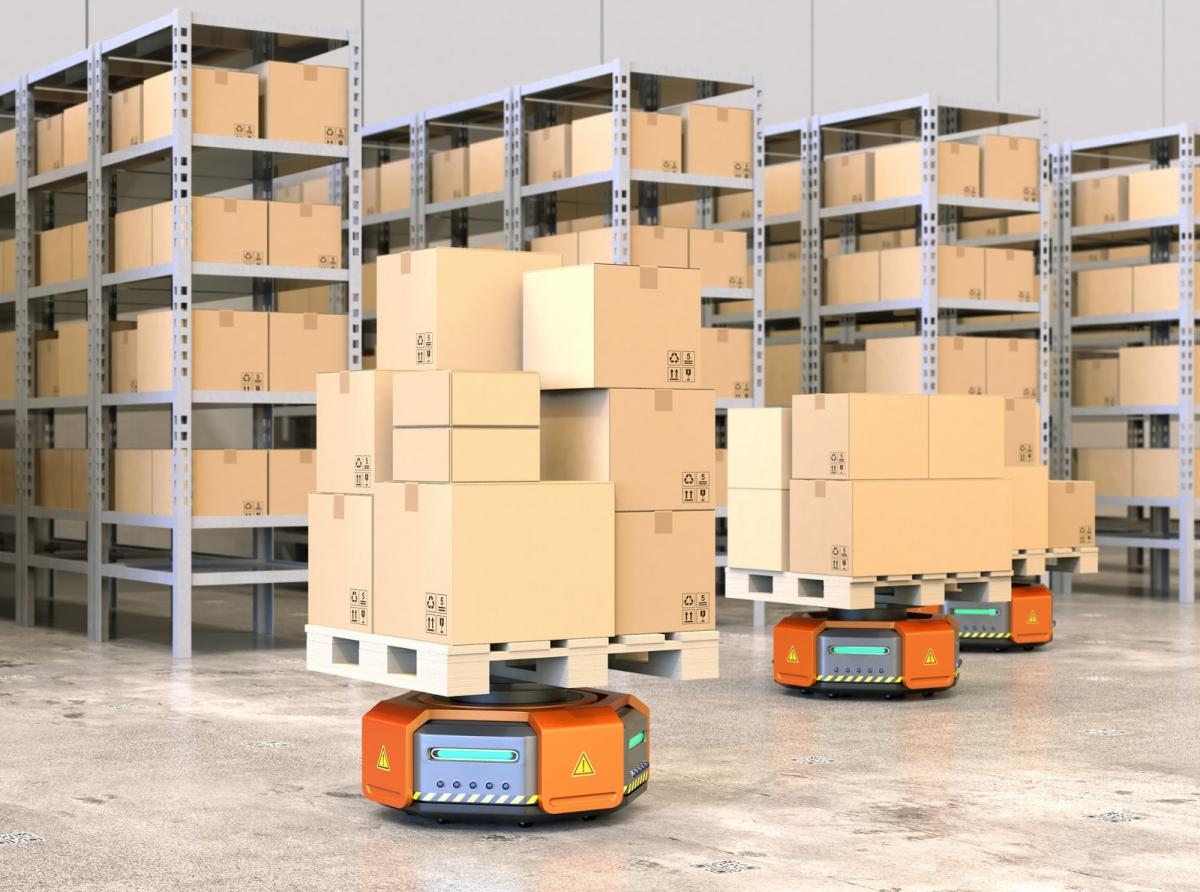 Self driving robots carrying boxes
