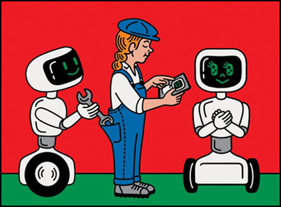 Illustration of Employee Working With Robots