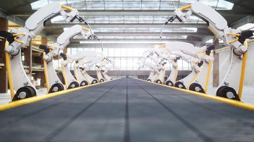Welding Robots And Conveyor Belt