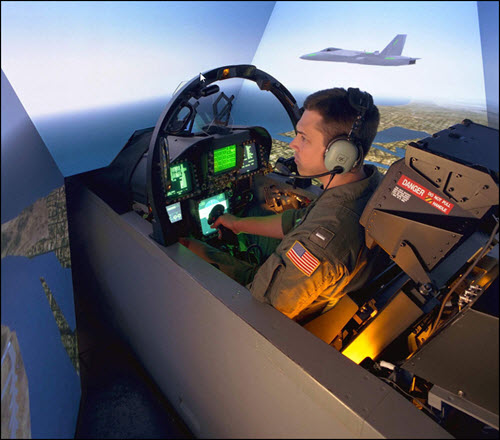 Pilot using flight simulator