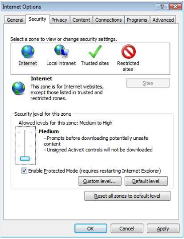 Internet Explorer Settings